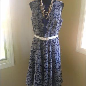 Anne Klein Navy & White Embroidered Dress 👗